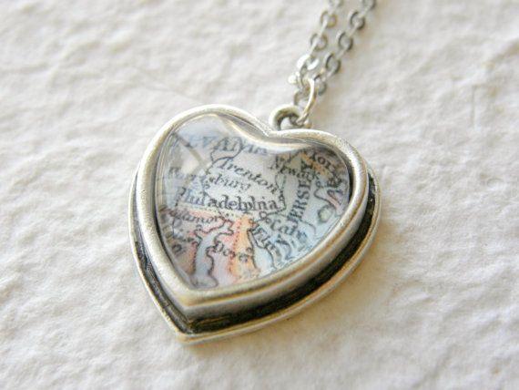 Petite Heart Shaped Philadelphia Map Necklace  by TheGreenDaisyShop on Etsy, $18.50