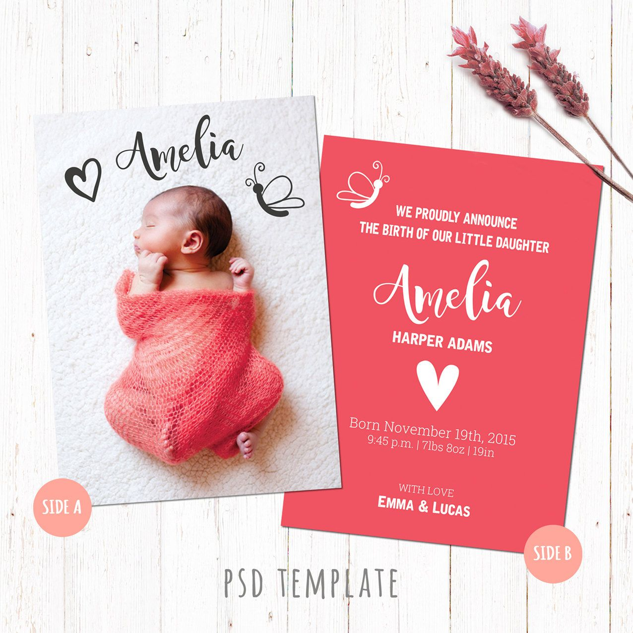Birth announcement template card Baby girl birth card Newborn – Birth Announcement Photoshop Template