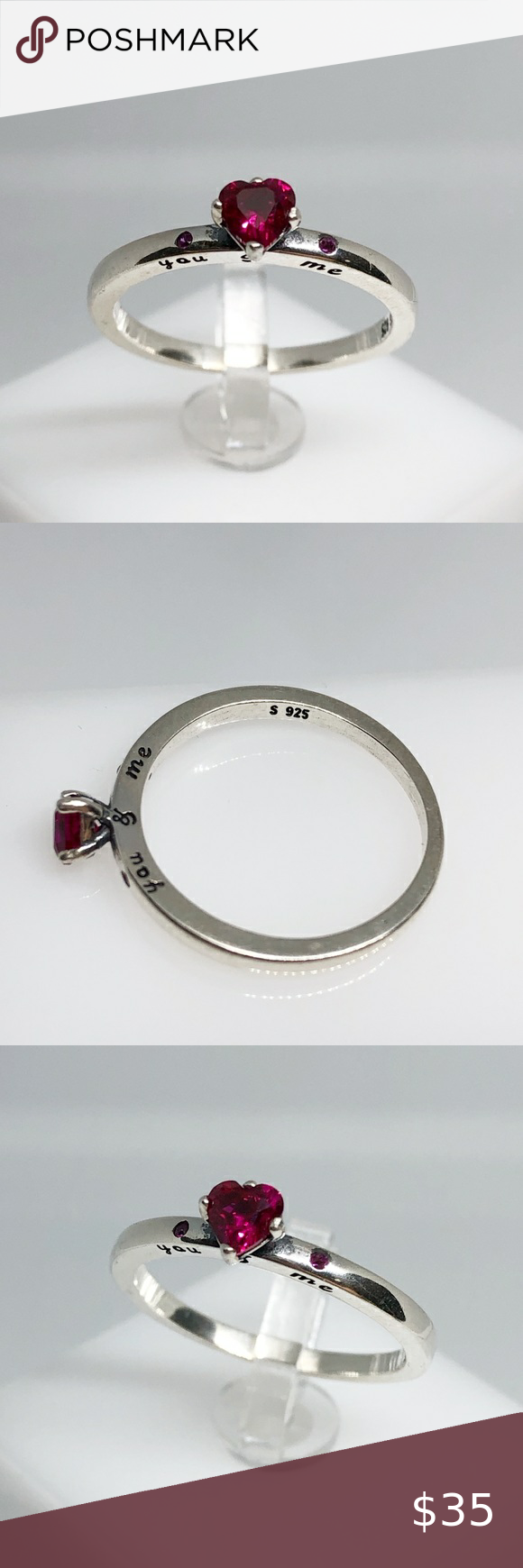 """Photo of Romantic ruby heart ring """" You and me """" Delicate sterling silver ring .Stamp…"""
