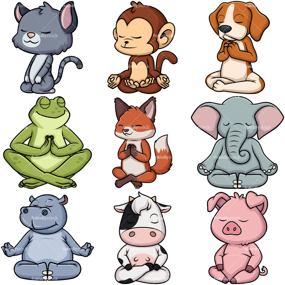 Animals Meditating Cartoon Vector Clipart Friendlystock Animal Yoga Pig Illustration Yoga Illustration