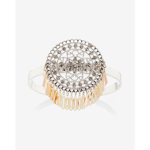 Express Embellished Filigree Cuff (£20) ❤ liked on Polyvore featuring jewelry, bracelets, multi, filigree jewelry, bohemian jewellery, glitter jewelry, boho bangles and evening jewelry