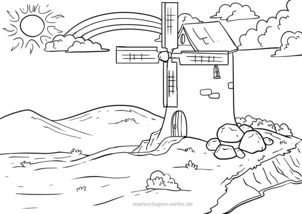 Malvorlage Regenbogen Und Windmühle Malvorlagen