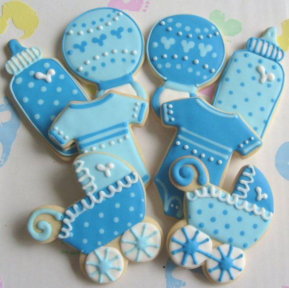 two toned baby collection baby onesie baby carriage baby bottle baby bib baby rattle decorated cookies cookie favors 1 dz