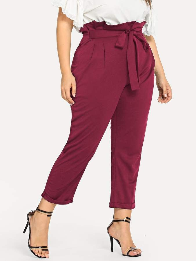 5aca153493 Shein Plus Self Tie Waist Paperbag Trouser Pants in 2019 | clothes ...