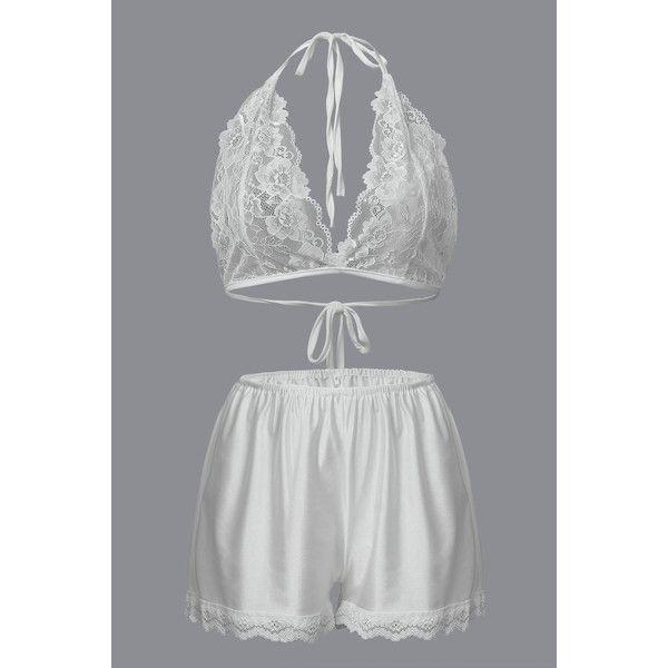 Yoins Sexy Deep V-Neck Nighty Lace Vest & Shorts Co-ords (18