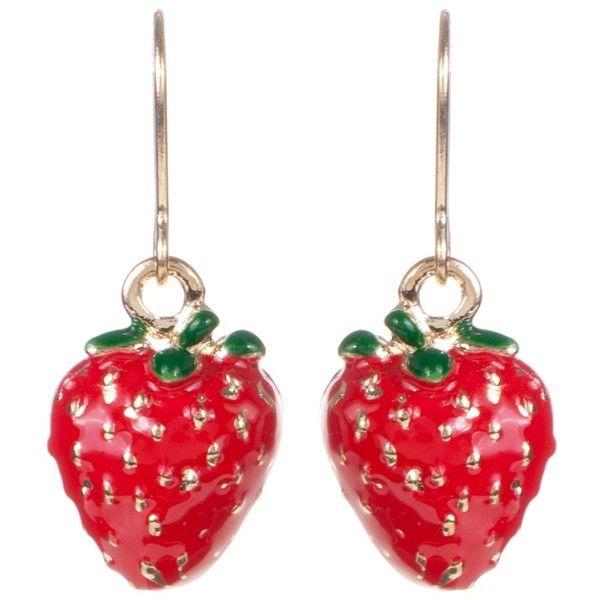 Lady Fox Strawberry Earrings 15 liked on Polyvore featuring