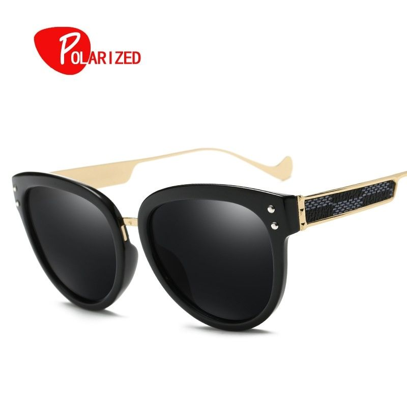 Women Polarized Sunglasses Luxury Cat Eye Metal frame Eyewear Coating Mirror Brand Design Women Sun Glasses UV400