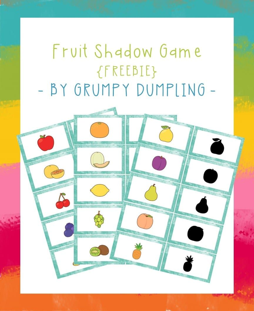 photograph relating to Printable Match Games named Shadow Memory Video game with Fruit Totally free Printable Report folder