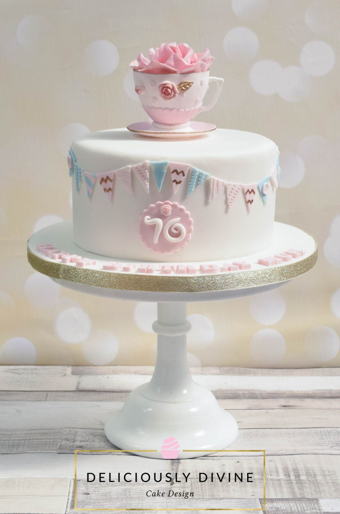 A 70th Birthday Vintage Teacup And Rose Cake A Vanilla