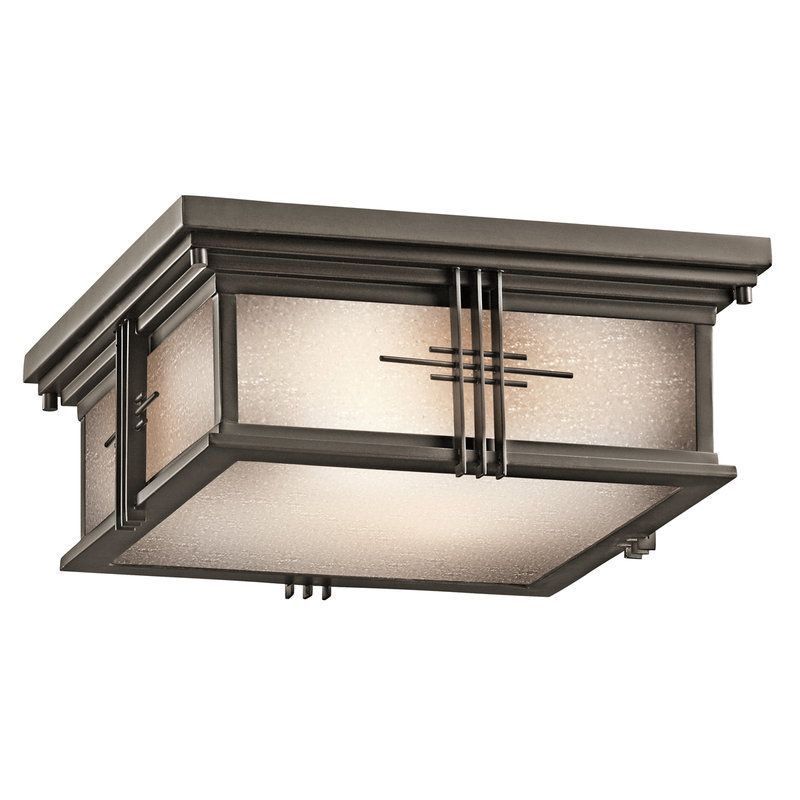 Kichler 49164 Two Light Outdoor Ceiling Fixture From The Portman Square Collecti Olde Bronze Lighting
