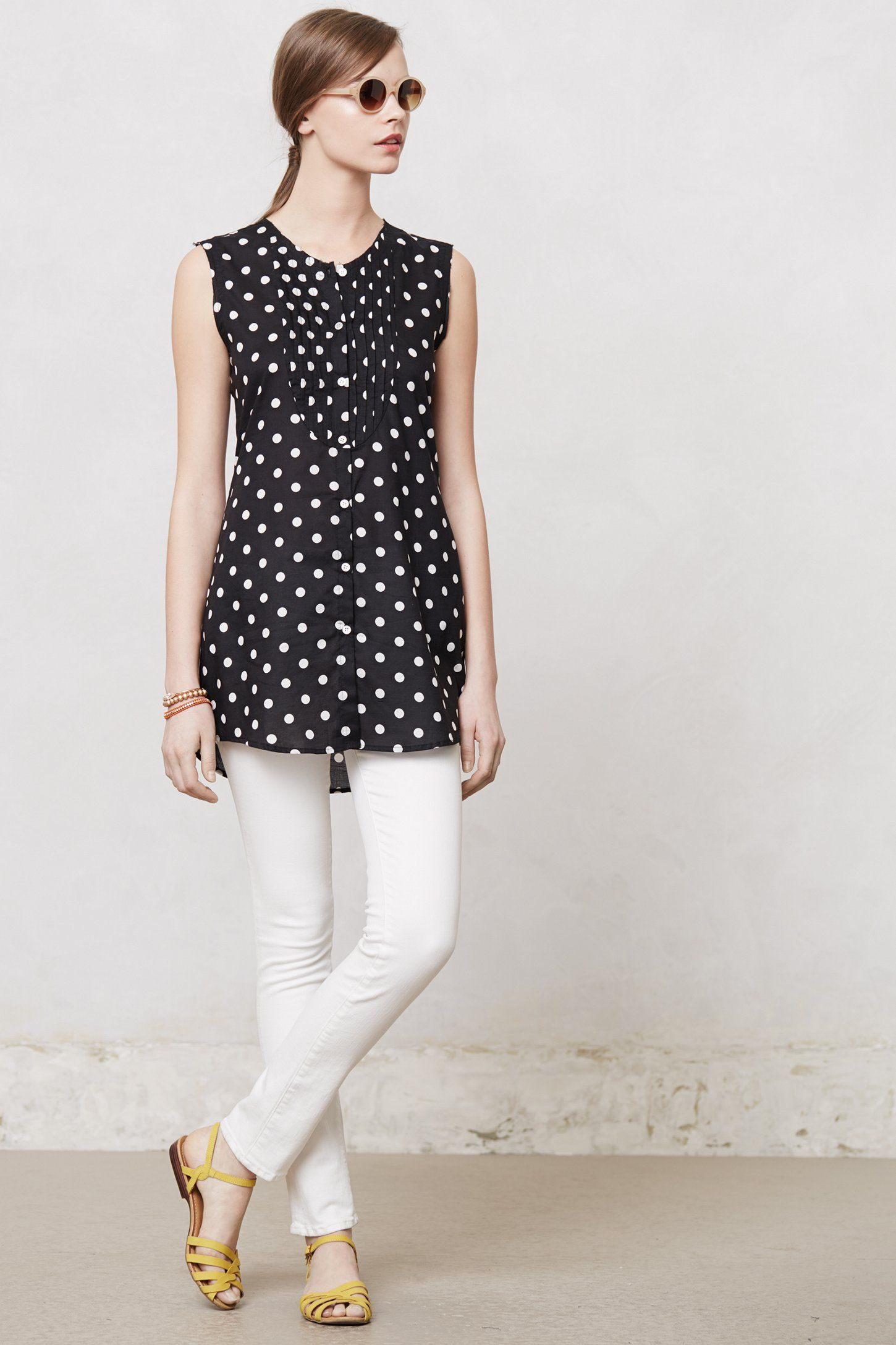 Dotted uptown tunicanthropologie fashion pinterest