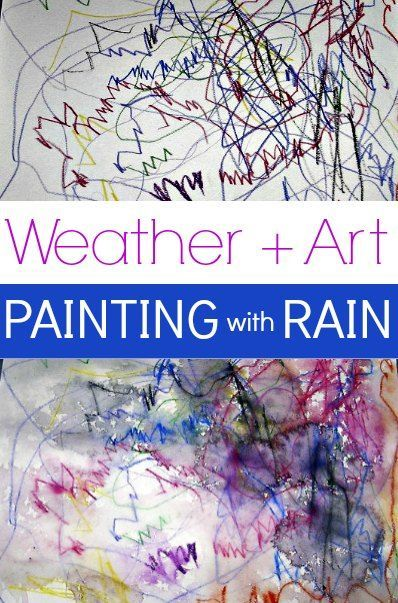 Watered Color Painting with Rain Art Project Preschool library