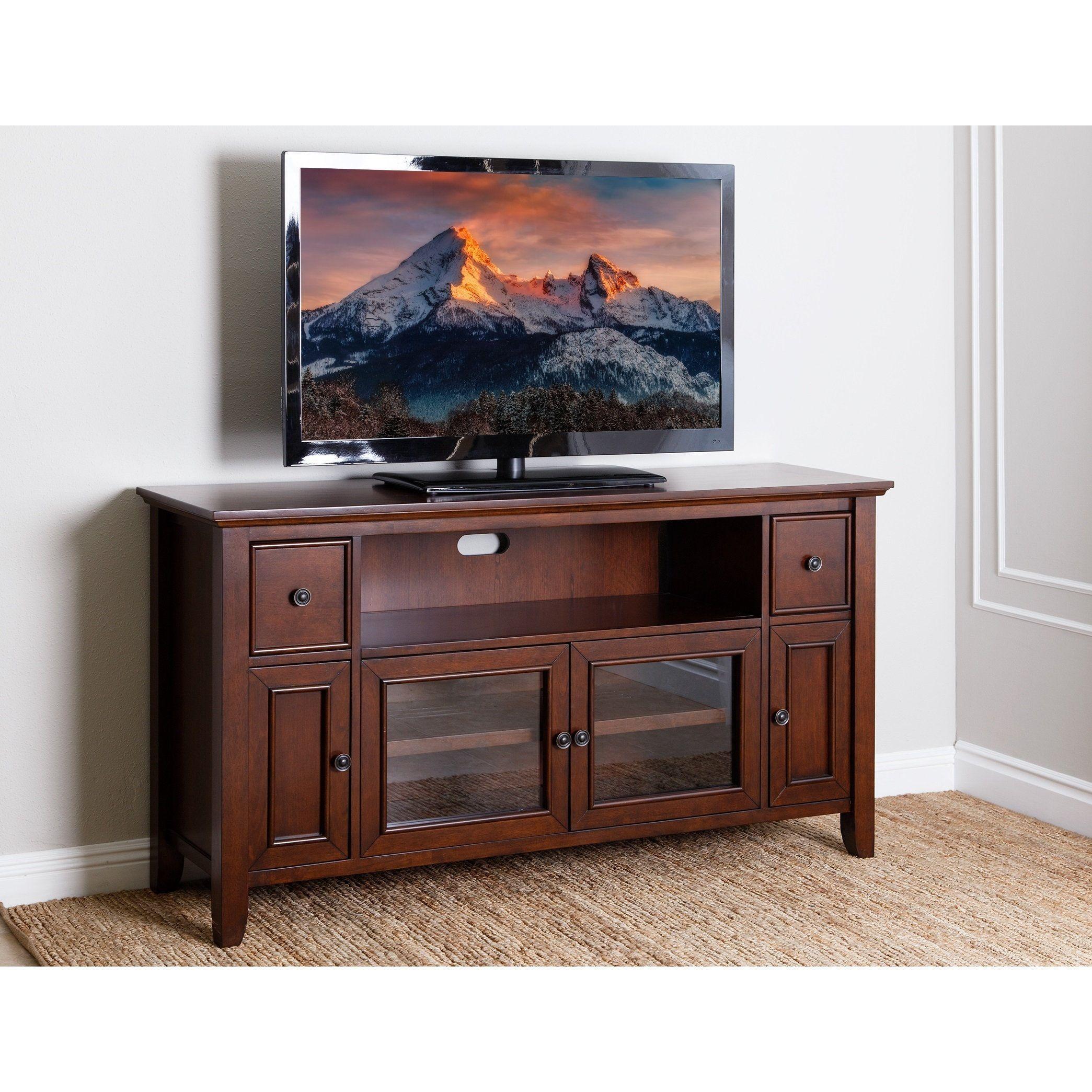 Abbyson Vienna Cherry Veneer Wood 65 Inch Tv Stand Console Vienna