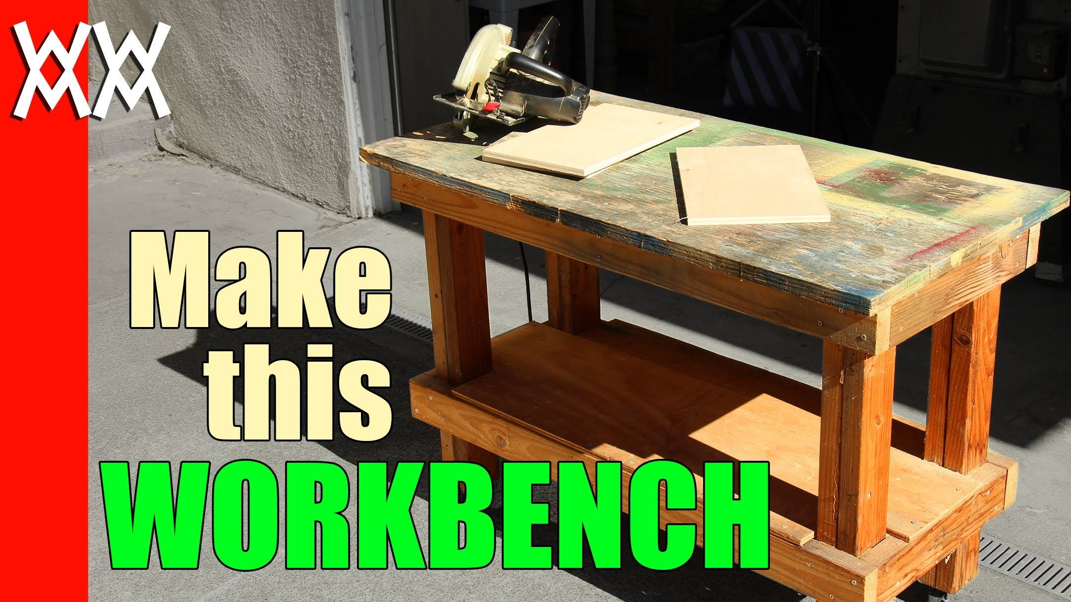 here's a basic workbench made with a few 2x4s and a sheet of