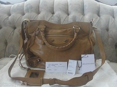 100% Authentic Balenciaga Tan Leather City Handbag Rose Gold Giant hardware  $1,399.00