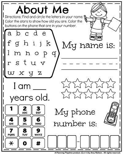 Back To School Kindergarten Worksheets Lesson Plans