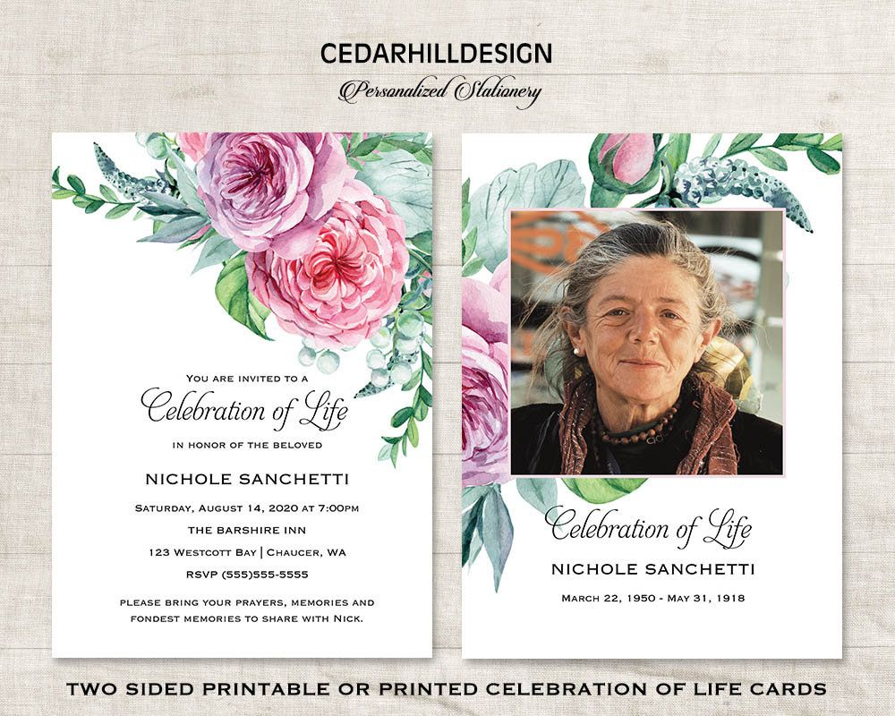 Celebration of Life Memorial Service Announcement Funeral Service ...