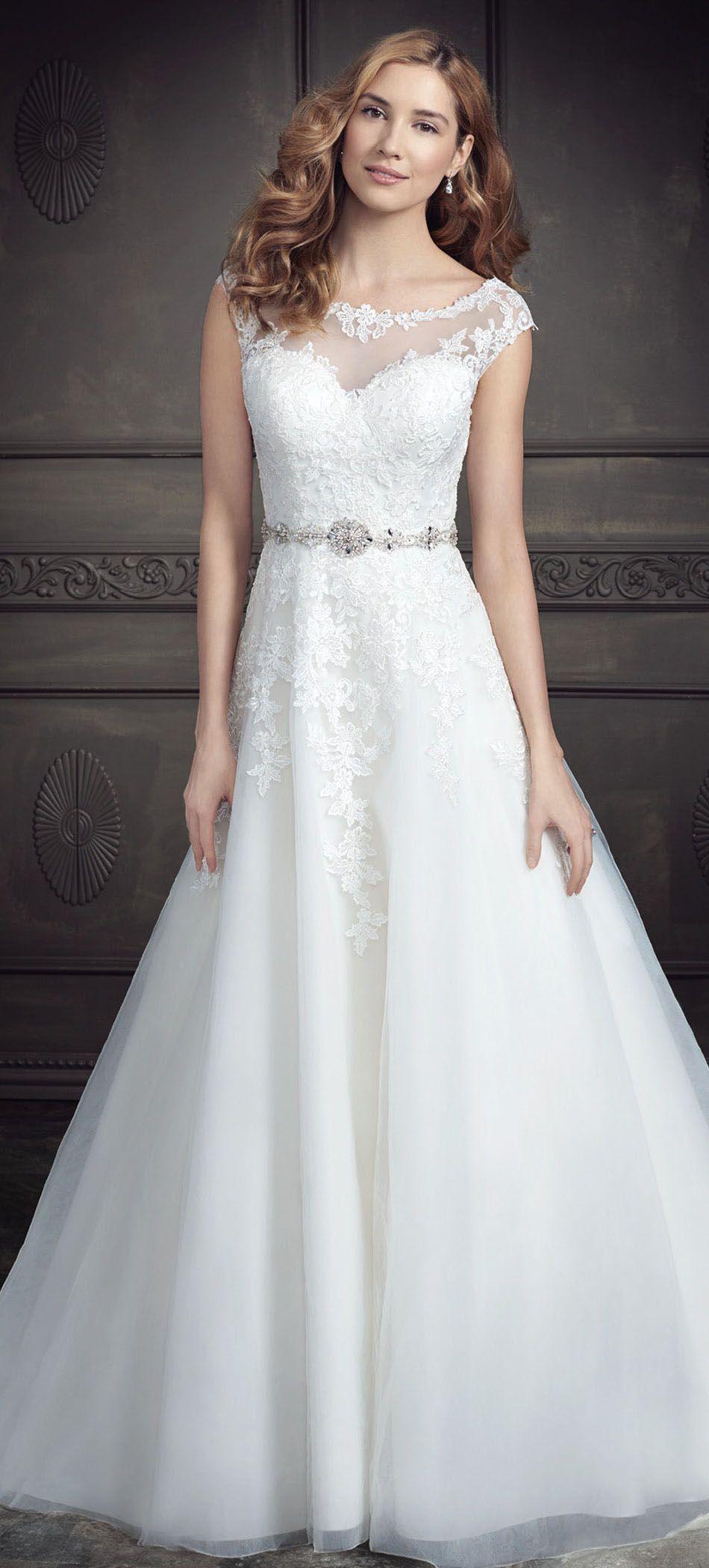 242.39Eelgant ALine Jeweled Lace&Tulle Wedding Dress