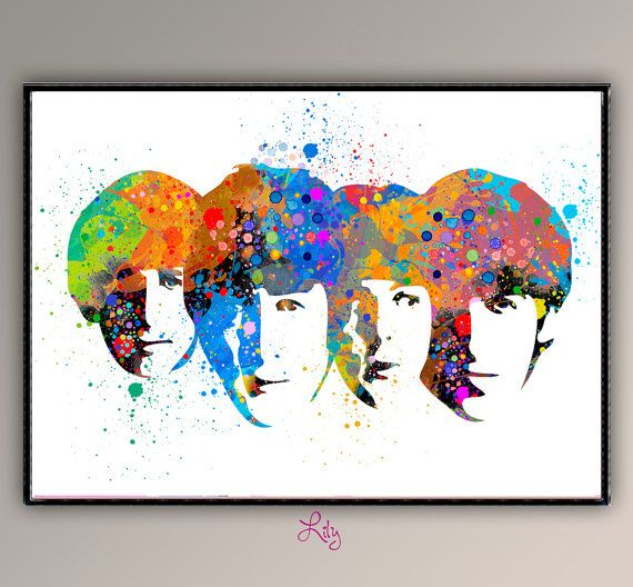 The Beatles Wall Decor Watercolor Art  Home Decor by LilytheLovely