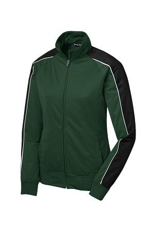 f167bc585d76 Sport-Tek Womens Polyester Tricot Piped Track Jacket
