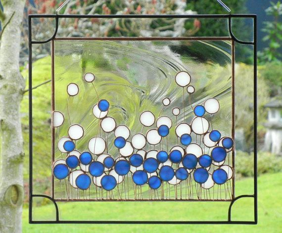 Modern & Cool! | Stained Glass Panel Flowers Field Window Art | by ShatteredbyLight @Etsy