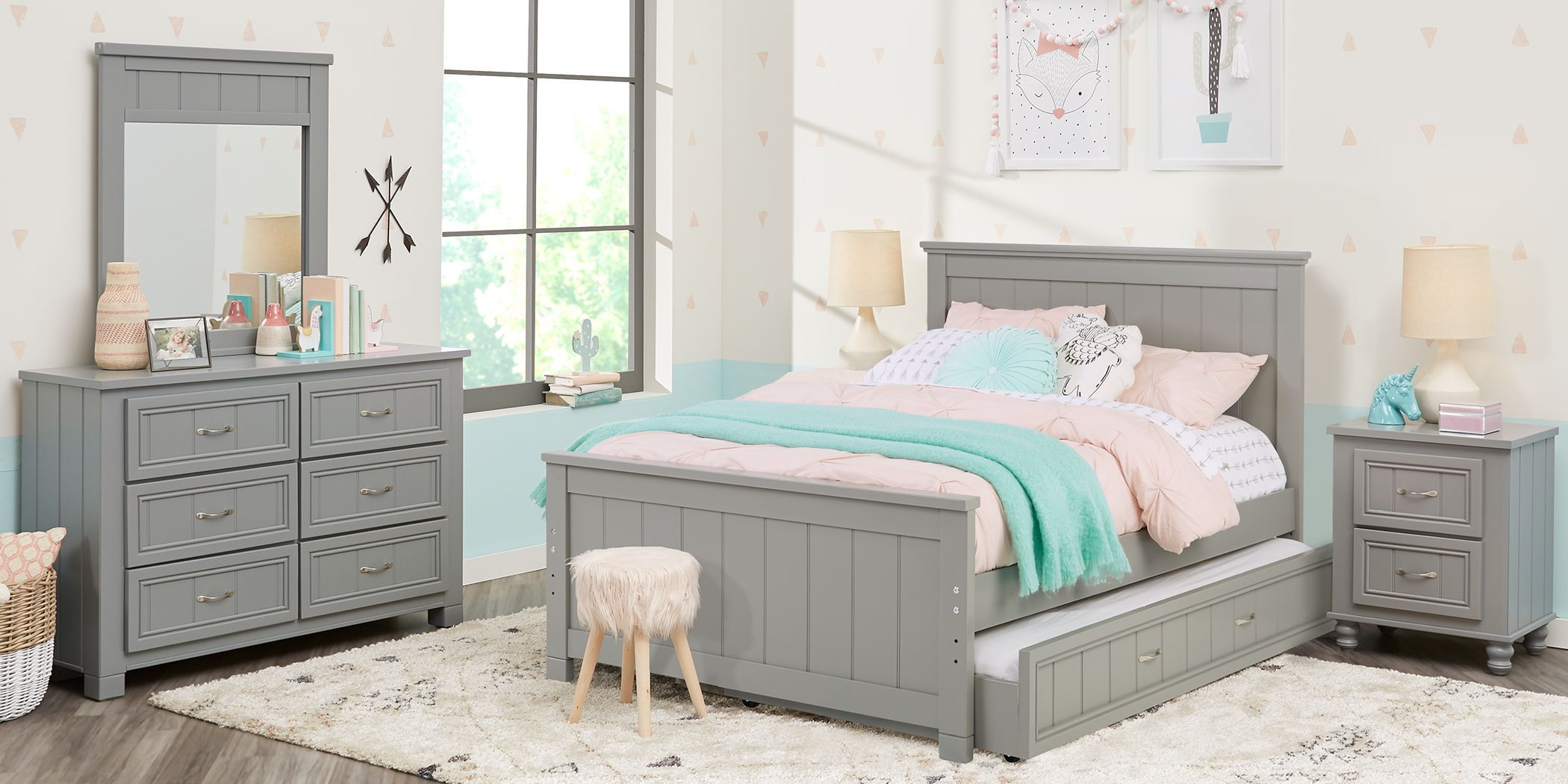 Kids Cottage Colors Gray 5 Pc Full Panel Bedroom In 2020