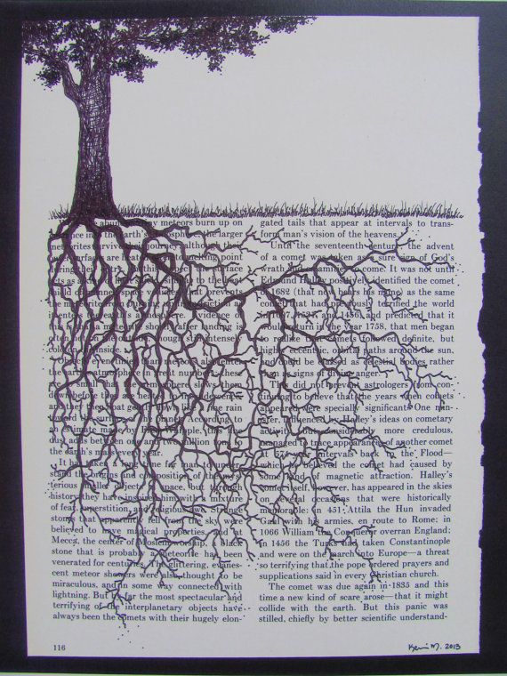 Print Of An Original Drawing Of A Tree With By Heartstonegallery 15 00 Art Page De Livre Projets Artistiques Les Arts