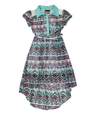 Loving this Sea Foam Geometric Belted Hi-Low Dress - Girls on #zulily! #zulilyfinds