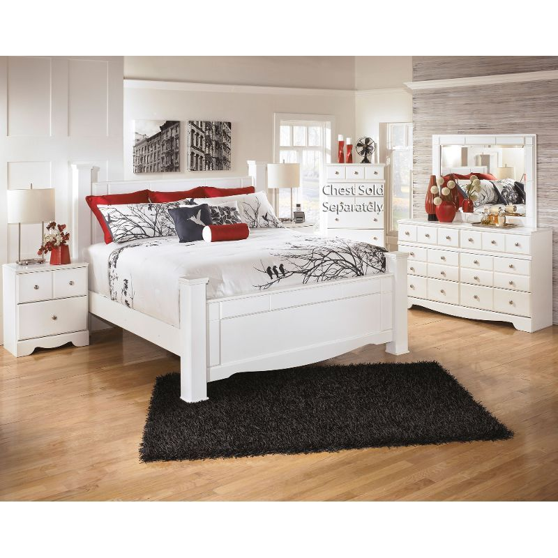 Weeki White 6-Piece King Classic Contemporary Bedroom Set - RC Willey Home Frunishings  Maybe white would work... they already have a bird motif in this one.
