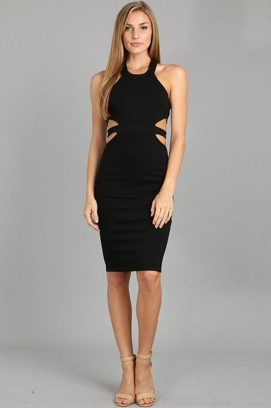 Karina Black Cut Out Sides Body Con Dress The Black Dress