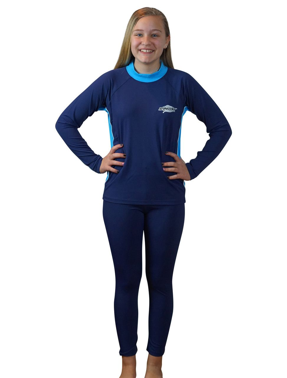 fda33988 Girls Swim Shirt and Tights Set - Long Sleeves & Long Pants- sizes 4 ...