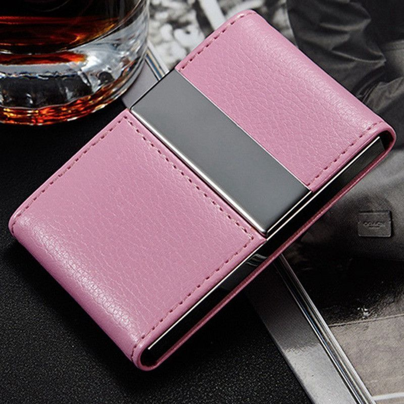 High quality stainless steel faux leather case box business card high quality stainless steel faux leather case box business card holder pocket id credit card holder reheart Images