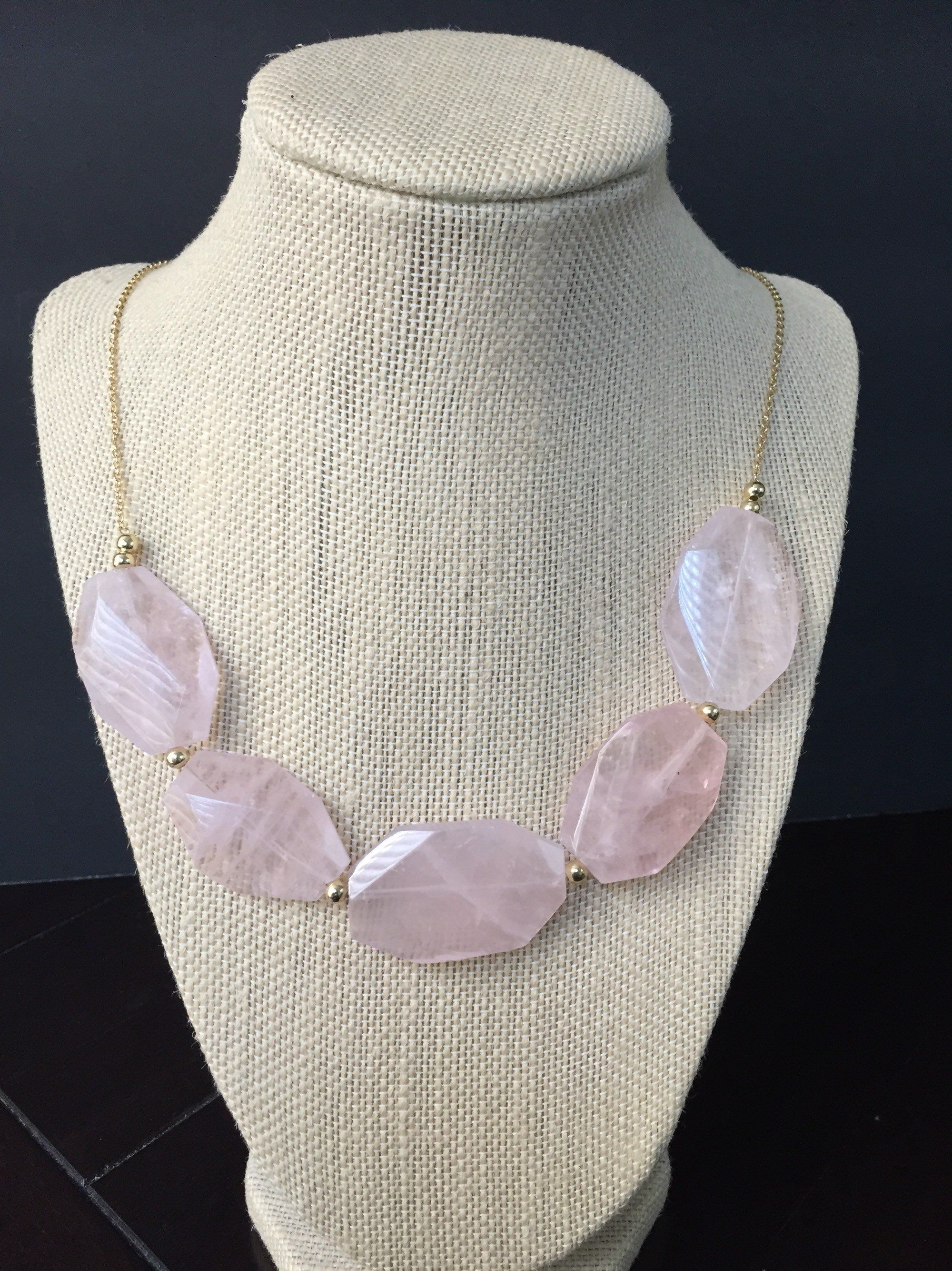 SALE!!! Rose quartz necklace, Healing crystal stone necklace, Unconditional love necklace, Fertility necklace, Wife birthday gift, Statement #quartznecklace