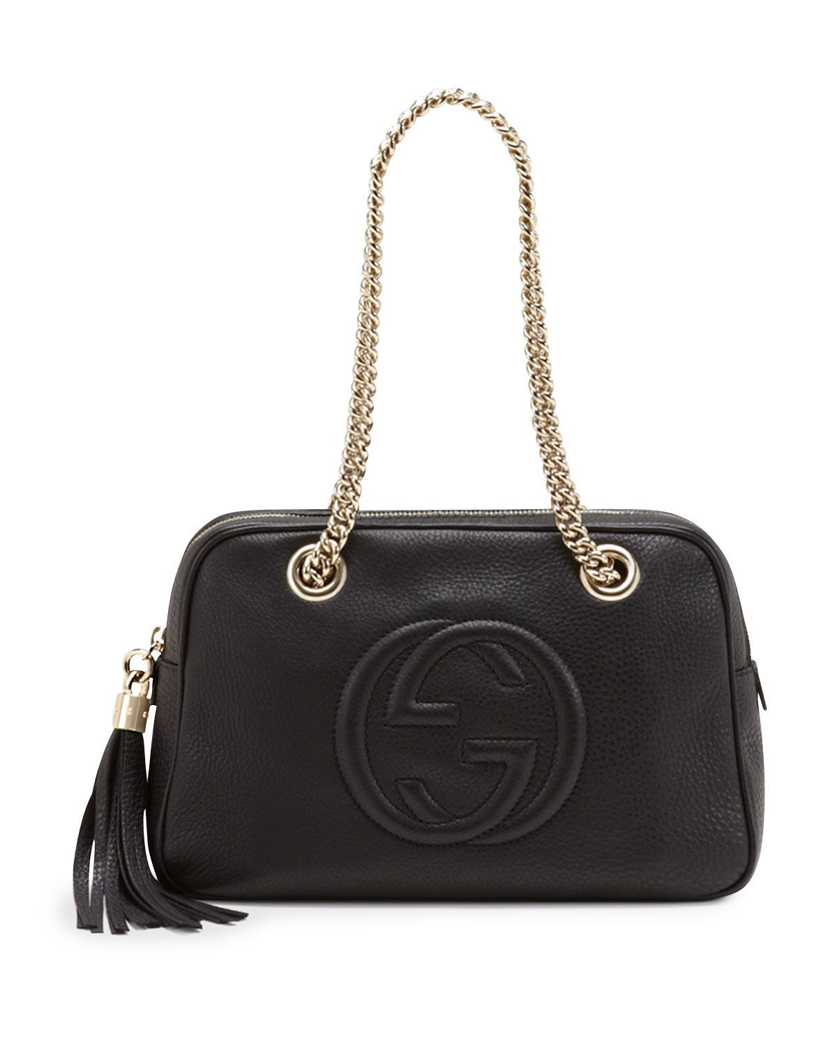 9a5ab24b8 Soho Leather Double-Chain-Strap Shoulder Bag, Black, Women's - Gucci