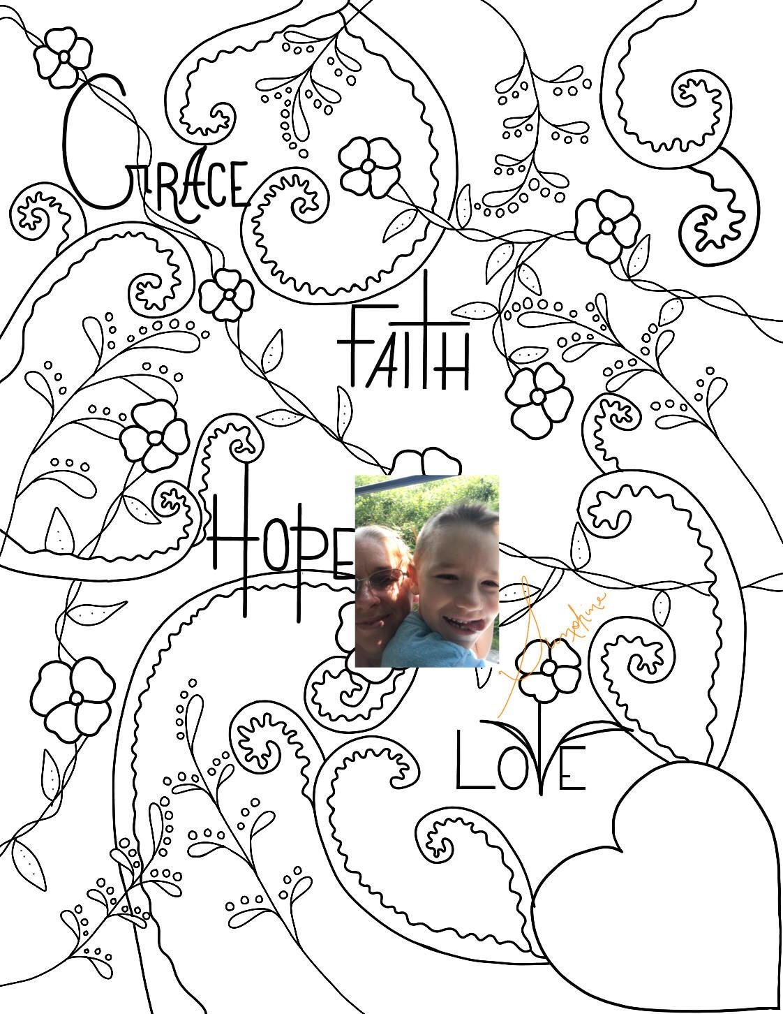 Grace, Faith, Hope, Love not just for Adult Coloring page. PDF and ...