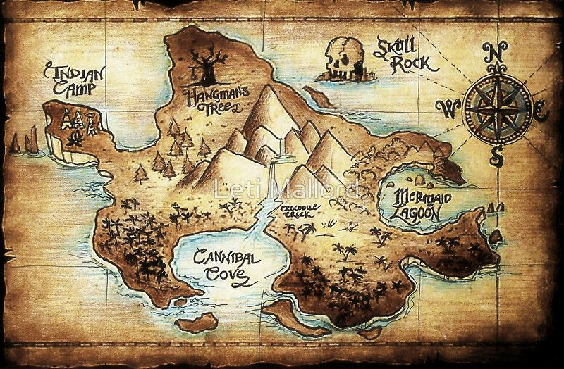 Neverland Map Available as Posters Prints and Cards Wish List Neverland map Peter pan
