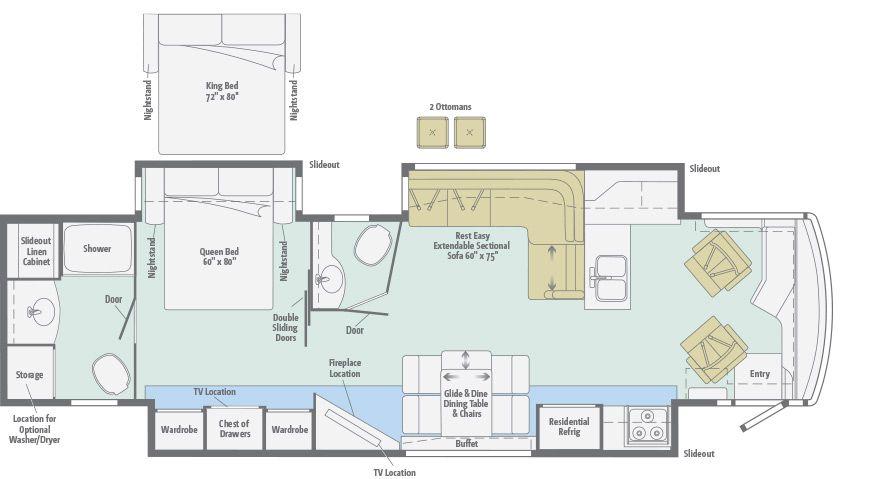 Meridian   Floorplans   Winnebago RVs   Motorhome   Pinterest