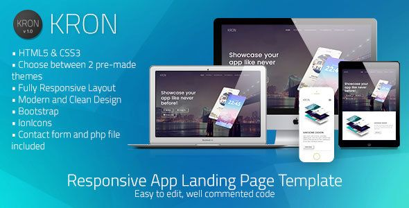 Kron Responsive HTML/CSS App Landing Page Template by fvimagination