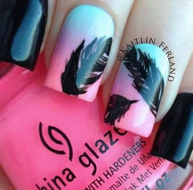 Feather Design Nails Nails Pinterest Feather Design