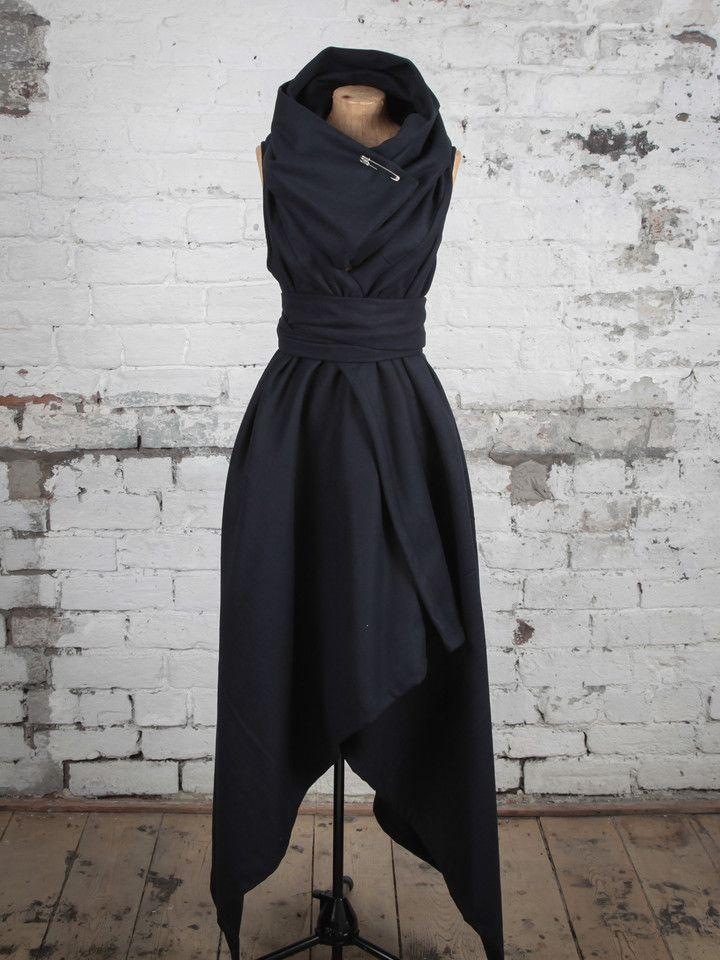 Navy Wool Sleeveless Coat