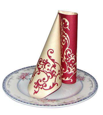 Servietten Mank Pomp Bordo creme 1/4 Falz 40x40cm Hochzeit Geburtstag Tischdeko