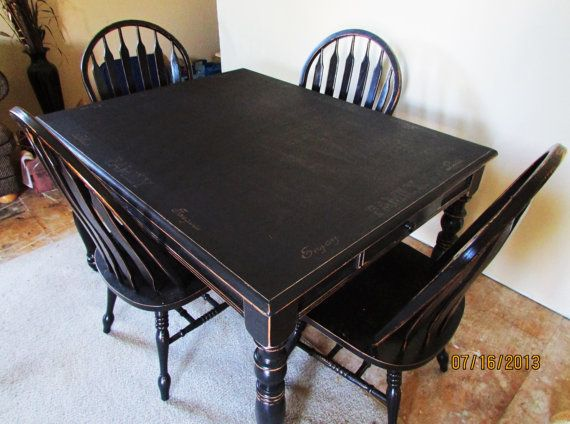 Serene Village Black Distressed Kitchen Table And Chairs Kitchen