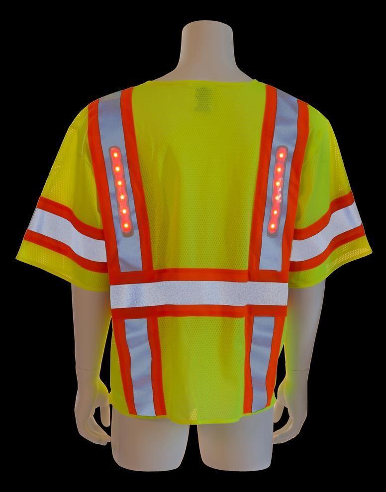 Reflective Vest with LED Lights- 5-PT Breakaway Vest- Class 3