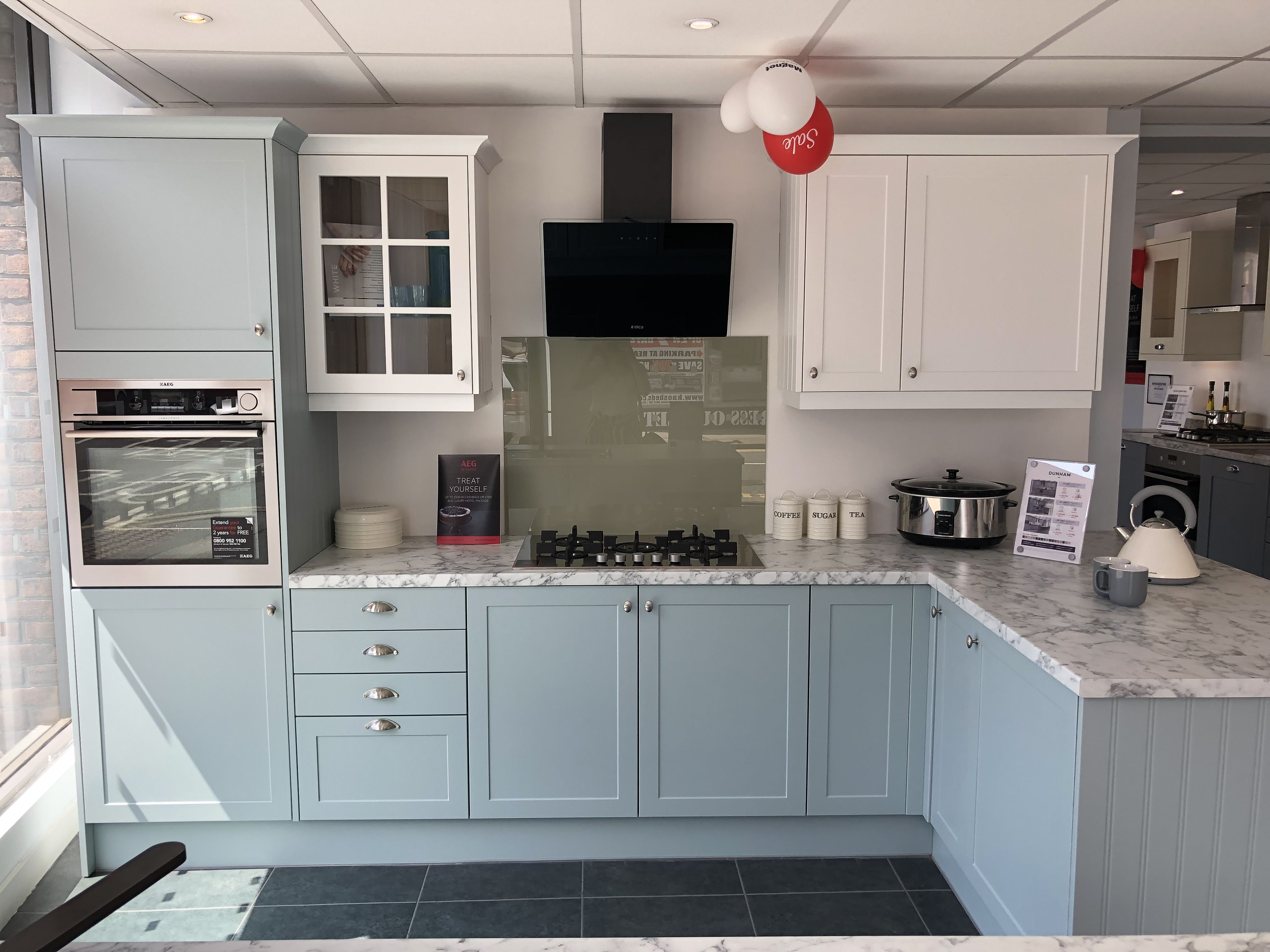 Dunham light blue and white kitchen Shaker style