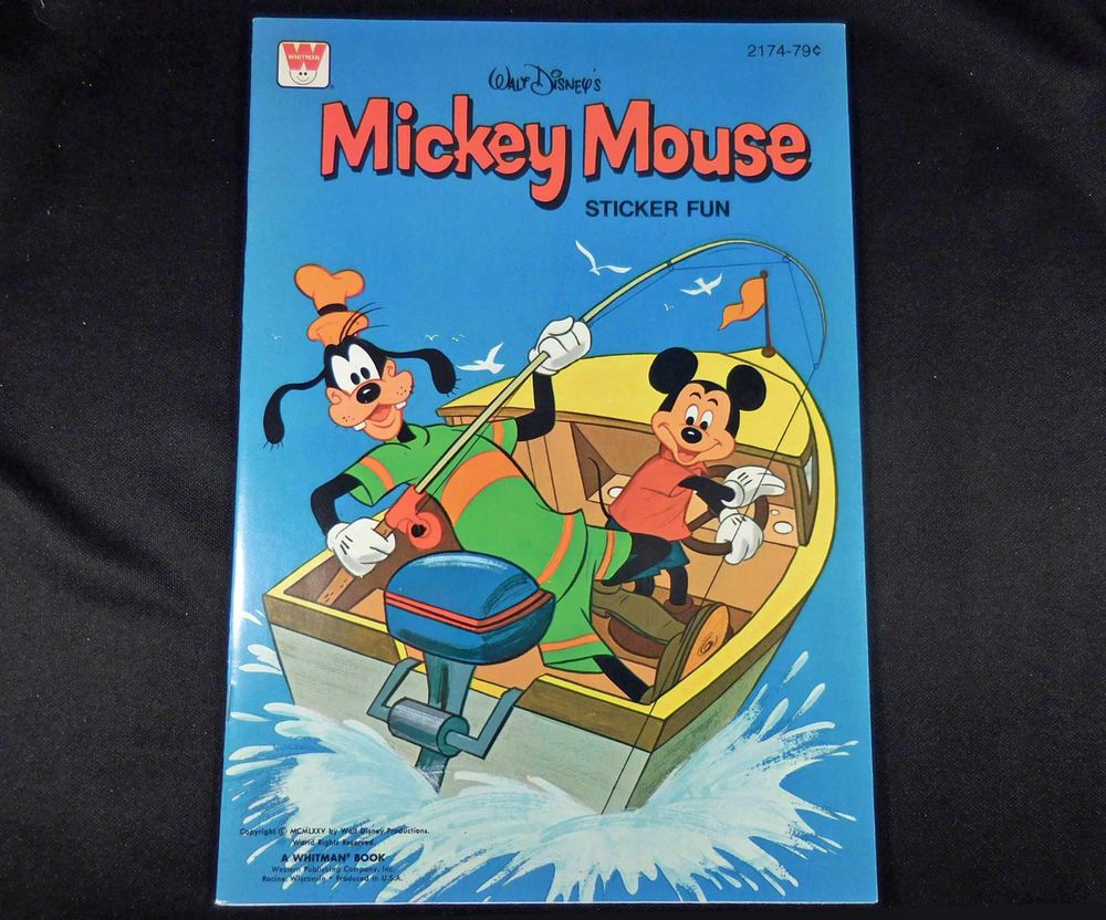 1975 Vintage Whitman DISNEY Sticker Fun Book, MICKEY MOUSE Fishing Boat, 16  pgs