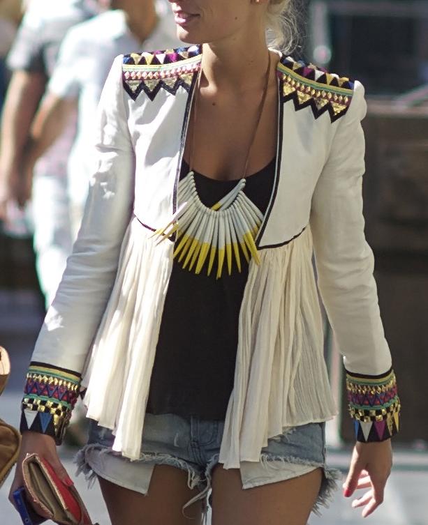Embroidered jacket with gauze overlay