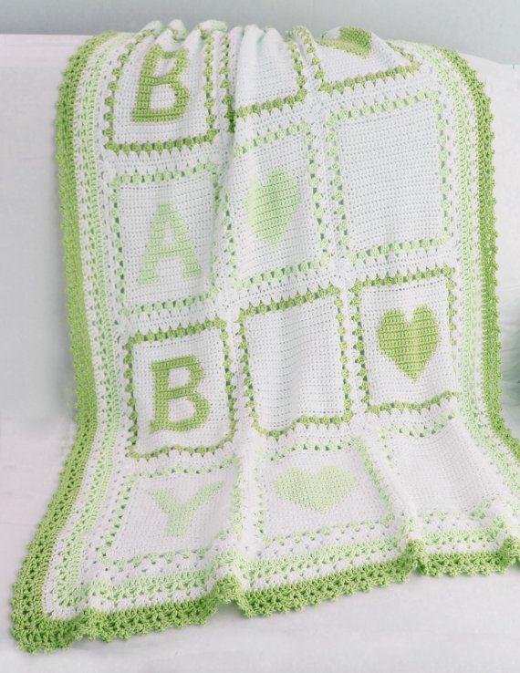 Baby Alphabet Blocks Afghan Crochet Pattern PDF | Pinterest ...