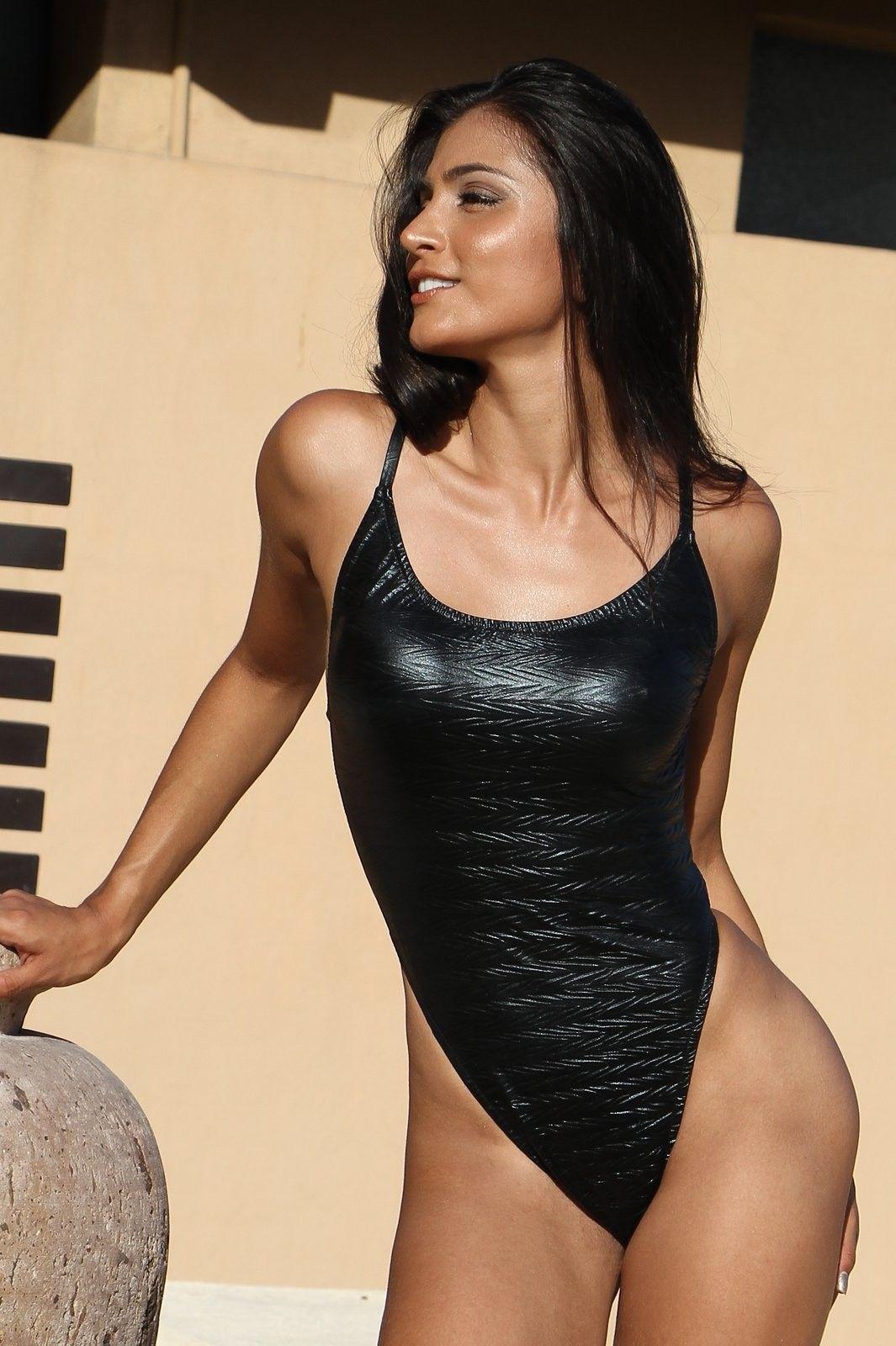 Sizzling Shiny Black One Piece Thong Bikini  http   www.tropicalbeachfashion.com 21909726def6