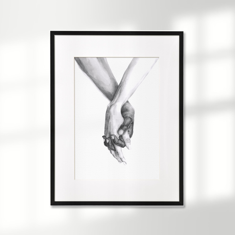 Personalised Giclee Art Print Personalised Wedding Gift Personalised Watercolour Print Couple Hands Print Personalised Wedding Day Gift