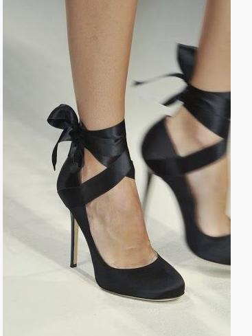 e879422b9f0 Velvet Ribbon Ankle Wrap Bow Heels DIY (...love Maegan)